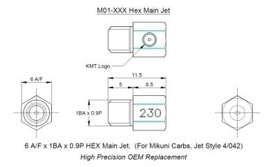 M01 - Main Jet -6mm A/F Hex